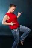 新兴奋的妇女 免版税库存图片