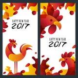 新年2017年 套贺卡,海报,与2017年的红色雄鸡标志的横幅 库存照片
