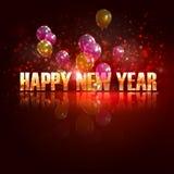 新年好。与气球的假日背景 免版税库存图片
