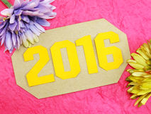 新年好与人造花的概念装饰 库存照片
