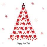新年好与大象和雪花的贺卡 免版税库存照片