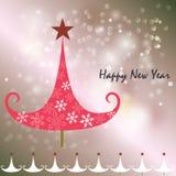 新年好与大象和雪花的贺卡 库存照片