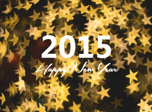 新年好卡片,金黄星背景 免版税库存照片