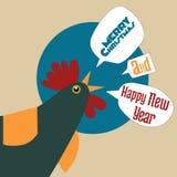 新年好和圣诞快乐公鸡 库存图片