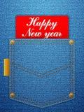 新年好牛仔布 免版税库存照片
