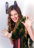 新年好笑的女孩 免版税库存图片