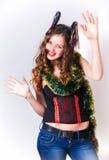 新年好笑的女孩 免版税图库摄影