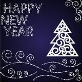 新年好蓝色卡片 免版税库存照片