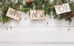 新年好装饰、装饰品和诗歌选构筑背景 免版税库存照片