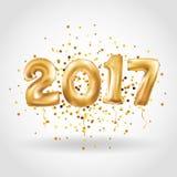 新年好金属金气球 库存照片
