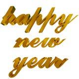 新年好问候,在白色的金黄3d信件 库存图片