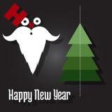 新年好,圣诞老人和圣诞树 库存照片