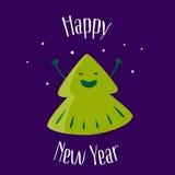 新年好 与乐趣圣诞树的贺卡 免版税图库摄影