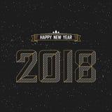 新年好2018与星和黑背景的文本设计 库存照片