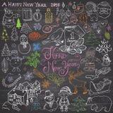 新年好2016乱画手拉的剪影设计与字法集合的,与圣诞树雪花,雪人, elfs,鹿, 库存照片