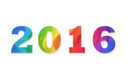 新年好2016五颜六色的平的设计传染媒介例证概念 免版税图库摄影