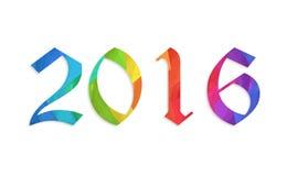 新年好2016五颜六色的平的设计传染媒介例证概念 库存图片