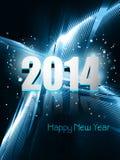 新年好2014年反射蓝色五颜六色的波浪设计 库存照片