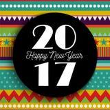 新年好2017抽象颜色艺术卡片设计 免版税库存照片