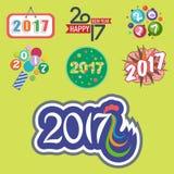 新年好2017文本设计传染媒介创造性的图表庆祝问候党日期例证 免版税库存照片