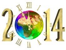 新年好2014年-欧洲、亚洲和非洲 免版税库存照片