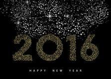 新年好2016年金子deco组合图案装饰品 库存照片