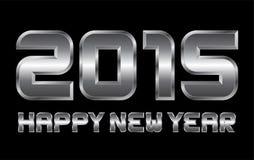 新年好2015年-长方形二面对切的金属信件 免版税库存照片