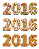 新年2016年姜饼 免版税库存图片