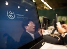 新闻工作在联合国会议期间的关于气候变化 库存图片