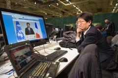 新闻工作在联合国会议期间的关于气候变化 免版税库存照片