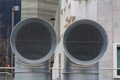 新建工程管通风系统 免版税库存照片