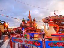 新年市场在红场- 1月的莫斯科 02日2015年 库存照片