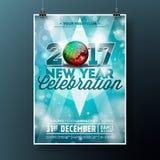 新年庆祝与2017个假日印刷术设计的党例证与在发光的蓝色背景的迪斯科球 库存图片