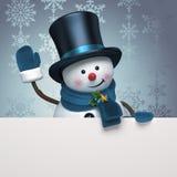 新年度雪人帽子问候横幅 库存图片