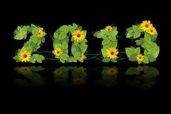 新年度2013年。 日期被排行的绿色叶子和花。 免版税库存图片