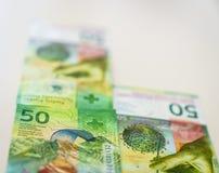 新50张瑞士法郎票据 库存图片