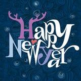 新年快乐。卡片。书法。 库存图片