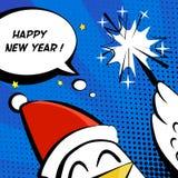 新年快乐与公鸡的传染媒介例证在圣诞老人帽子,闪烁发光物和文本覆盖 库存图片