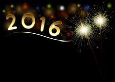 2016年新年快乐与闪烁发光物的黑色背景 库存图片