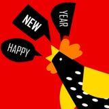 新年快乐与颜色公鸡的贺卡 库存图片