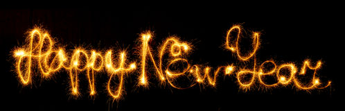 新年快乐做了闪闪发光在黑色 免版税库存图片