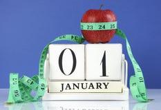 新年快乐健康减肥的减重或身体好决议 免版税库存图片