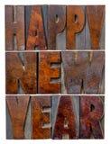 新年快乐印刷术 库存图片