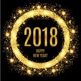 2018年新年快乐发光的金背景 图库摄影