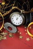 新年快乐口袋表链手表 免版税库存照片