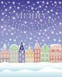 新年快乐和圣诞快乐冬天卡片 免版税库存图片