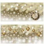新年快乐和圣诞快乐金黄横幅 库存照片