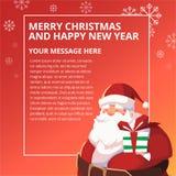 新年快乐圣诞老人设计模板 免版税库存照片