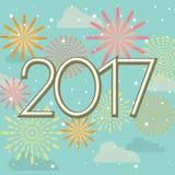 新年快乐在天空的2017烟花 免版税库存图片