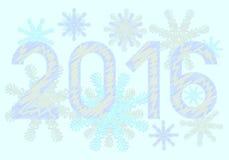 新年快乐在蓝色背景的2016年与 免版税库存图片
